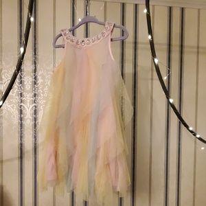 Tahari Jeweled Neck Swiss Dot Tulle Layer Dress